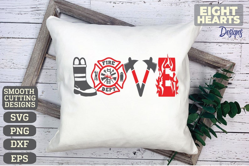 Download Firefighter Love svg png dxf eps. Cutting crafting | Etsy