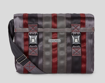 629147350 Messenger Seatbelt Bag Large Messenger Bag Gray Black and Red Seat Belt Bag  Gifts for Him Gifts for Graduation Seat Belt Messenger Bag
