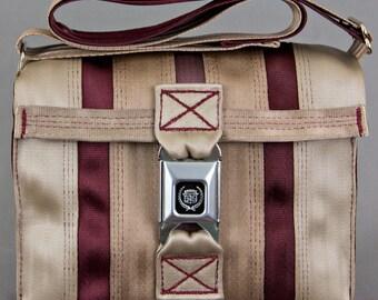 Seatbelt Purse-Tan/Red-red thread