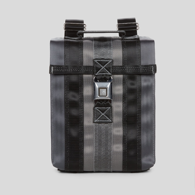bfd4ff2edb Seatbelt Backpack. Black Gray and Land Rover Seatbelt Purse. Small  Messenger Backpack. Seat Belt Purse. Gifts for Him. Gifts for Her.