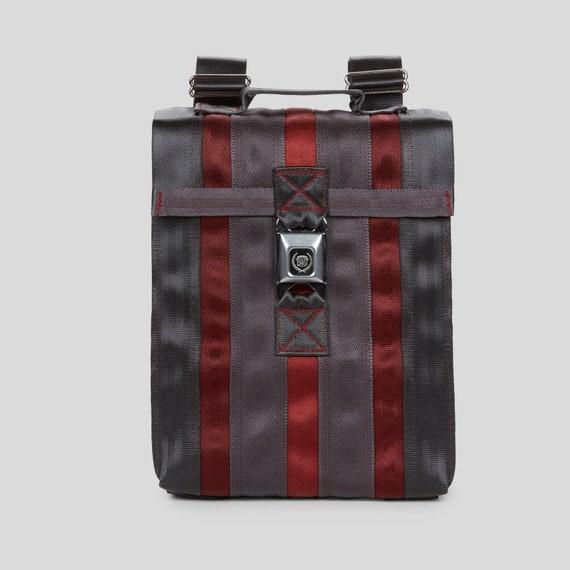 c30f47b3fc Seatbelt Backpack. Messenger Bag Small. Messenger Backpack. Seatbelt Purse.  Gray Black and Red Seat Belt Purse. Gifts for Her. Gifts for Him