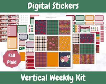 Printable Planner Stickers for Erin Condren and Happy Planners // Fall Plaid // Printable Vertical Weekly Kit // Digital Download