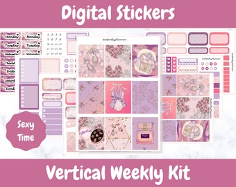 Printable Planner Stickers for Erin Condren and Happy Planners // Sexy Time // Printable Vertical Weekly Kit // Digital Download