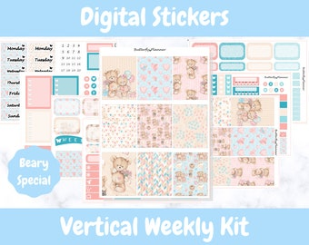 Printable Planner Stickers for Erin Condren and Happy Planners // Beary Special // Printable Vertical Weekly Kit // Digital Download