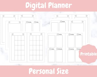 Printable Planner // Personal Sized // Undated Printable Vertical Weekly and Monthly Personal Planner // Digital Download