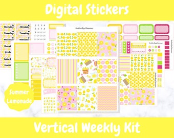 Printable Planner Stickers for Erin Condren and Happy Planners // Summer Lemonade // Printable Vertical Weekly Kit // Digital Download