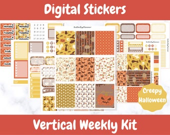 Printable Planner Stickers for Erin Condren and Happy Planners // Creepy Halloween // Printable Vertical Weekly Kit // Digital Download