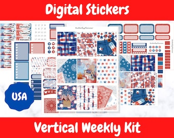 Printable Planner Stickers for Erin Condren and Happy Planners // USA // Printable Vertical Weekly Kit // Digital Download