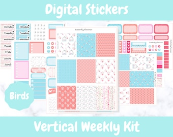 Printable Planner Stickers for Erin Condren and Happy Planners // Birds // Printable Vertical Weekly Kit // Digital Download