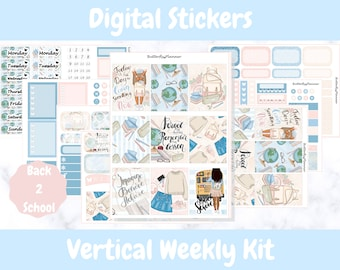 Printable Planner Stickers for Erin Condren and Happy Planners // Back 2 School // Printable Vertical Weekly Kit // Digital Download