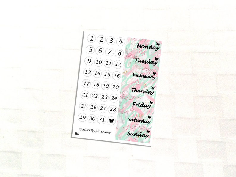 Bend and Snap, Date Cover, Stickers For Your Planner, Pink, Teal