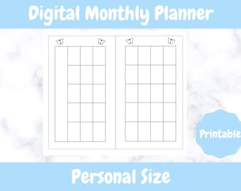 Printable Monthly Planner // Personal Sized // Undated Printable Monthly Personal Planner // Digital Download