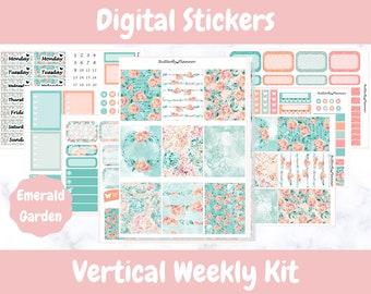 Printable Planner Stickers for Erin Condren and Happy Planners // Emerald Garden // Printable Vertical Weekly Kit // Digital Download