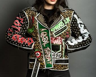Vintage Studded Punk Leather Jacket Exploited GBH Discharge Broken Bones HORTHOS MAUS
