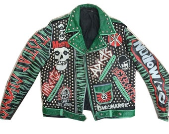 vintage studded punk jacket medium 42 leather subhumans misfits cheap sex total chaos oxymoron broken bones the adicts discharge - Misfits Christmas Sweater