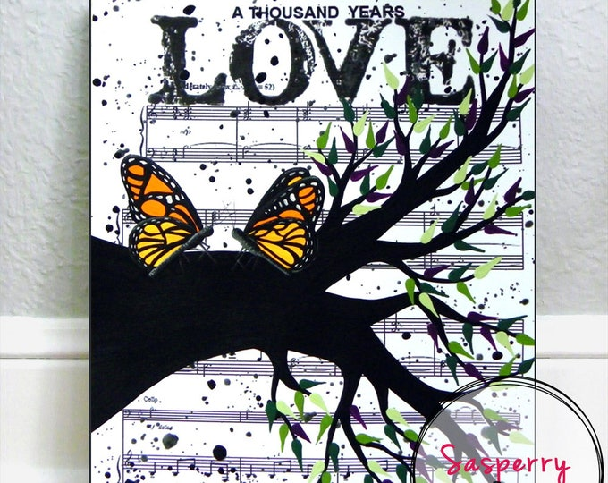 Butterfly Gift, Monarch Butterfly Painting, Orange Butterfly Art, Gardener Gift, Butterfly Wedding Gift