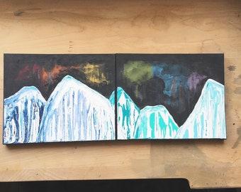 Rainbow Mountain Painting - Original Acrylic Landscape Art Abstract 8 x 20
