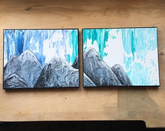Ombre Blue Mountain Painting with Thick Texture - Original Acrylic Landscape Art Abstract 8 x 20
