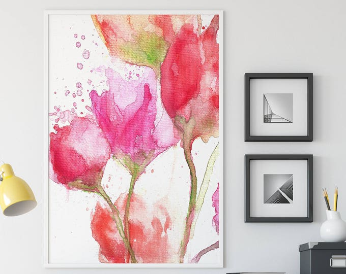 Red Rose Painting - Lily Painting - Floral Wall Art - Watercolor Flower Giclee Print - Flower Nursery Decor