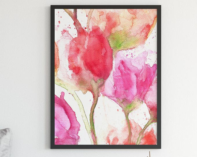 Flower Art Print - Watercolor Flower Print - Watercolour Flowers Giclee Print