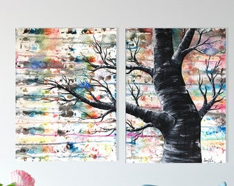"""Large Rainbow Tree Painting with Vintage Music Sheet - Original Acrylic and Watercolor 24"""" x 36"""""""