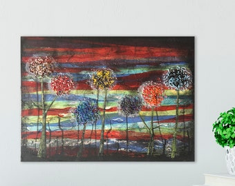 """Wish Flower Painting - Colorful Mixed Media Dandelion Art  16"""" x 20"""""""