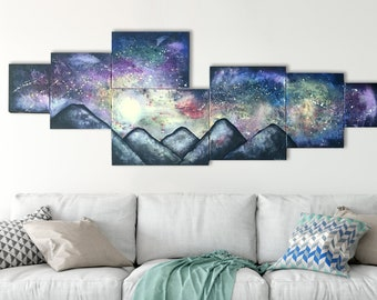 Large Galaxy Painting - Original Mountain Art On Canvas - Night Sky With Stars Modern Wall Art Blue Purple Black - Milky Way Space Artwork
