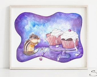 Watercolor Squirrel Print - Cupcake Chipmunk Painting - Purple Kids Playroom Decor -  Boys Nursery Childrens Wall Art  - Canadian Artist