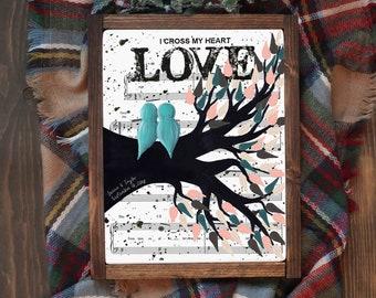 Unique Valentines Gift For Him - Unique Gift Ideas For Boyfriend Girlfriend - Music Sheet Love Bird Print Digital Printable Art