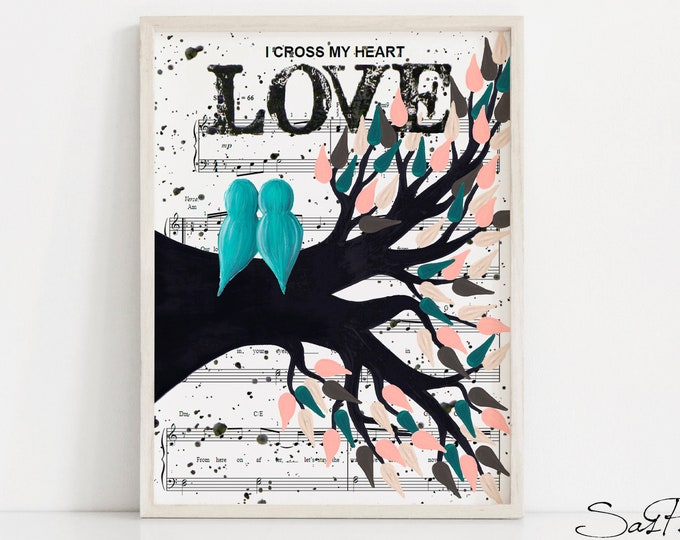 Unique Wedding Gift Idea For Couple - Music Sheet Love Bird Print Digital Printable Art - Modern Last Minute Engagement Gift For Music Lover