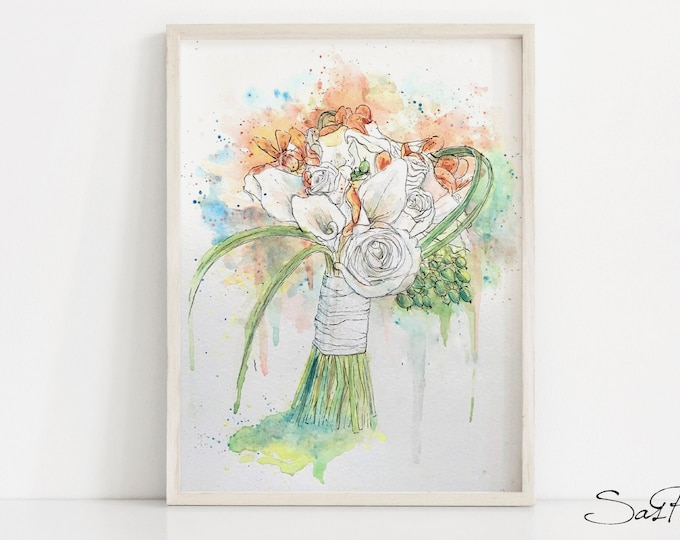 Custom Wedding Bouquet Painting In Watercolor And Ink