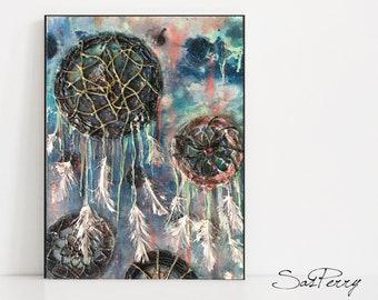 Dreamcatcher Painting Mixed Media - 12 x 16 Blue and Pink Dream Catcher Art