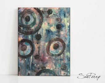 Abstract Blue Painting Mixed Media  - 12 x 16 Blue and Pink Rain Geometric Art