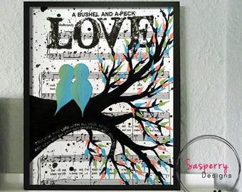 Unique Engagement Gift - Original Music Sheet Painting of Love Birds In A Tree  - Wedding or First Anniversary Paper Gift  8 x 10 to 12 x 16