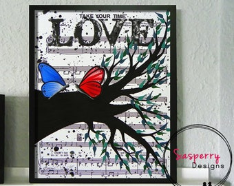 Butterfly Nursery Art, Music Sheet Painting, Butterfly Wall Art