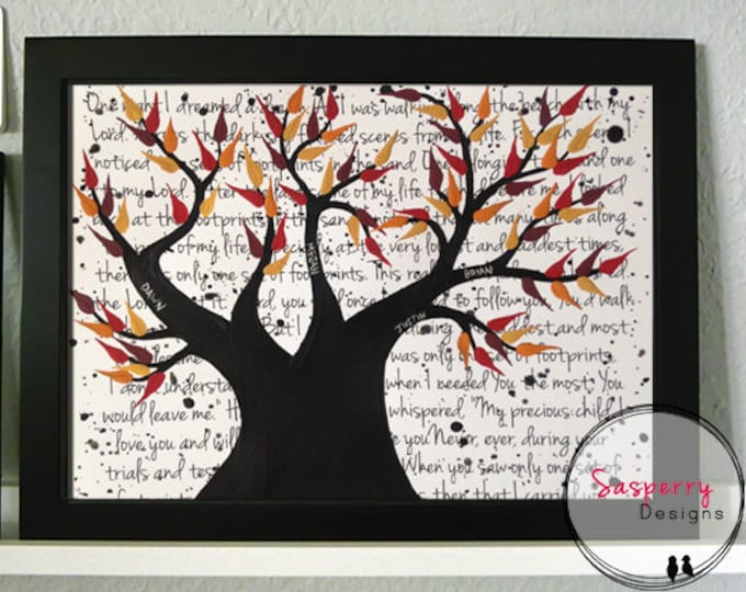 Personalised Family Tree Gift, Unique Memorial Gift, Custom Wedding Vow Art, Family Tree Painting, Tree of Life Present, Grandma & Grandpa