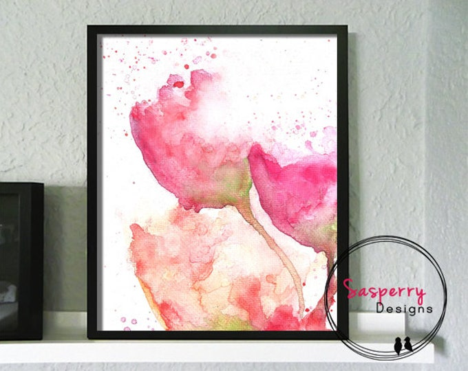 Pink Floral Art Print - Watercolor Flower Painting - Floral Nursery Print - Pink Nursery Wall Art
