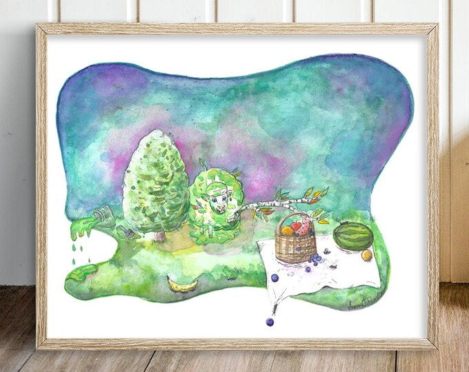 Green Sheep Art Print - Sheep Nursery Art  - Farm Nursery Wall Art - Lamb Print - Sheep Illustration - Kids Room Painting - Barnyard Art