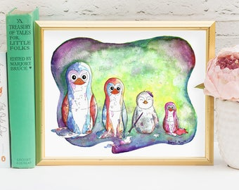 Baby Penguin Nursery Wall Art Illustration - Penguin Print -  Watercolor Penguin Painting w Nesting Dolls - Quirky Whimsical Kids Room Decor
