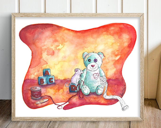Unique Nursery Wall Art - Teddy Bear Nursery Painting -  Orange Bear & Mouse Watercolor Art Print - Gift for Nurse Doctor Pediatrician