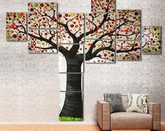 Große Original Gemälde Auf Leinwand Des Modernen Baum Des Lebens   Multi  Leinwand Wand Kunst Grau Lila Rot Für Kinderzimmer, Schlafzimmer, Büro   7  Fuß Hoch