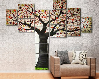 Huge Acrylic Tree Painting on Canvas Ready to Hang – Stretched Split Canvas Wall Art Contemporary Family Tree - Oversized Extra Large 5'