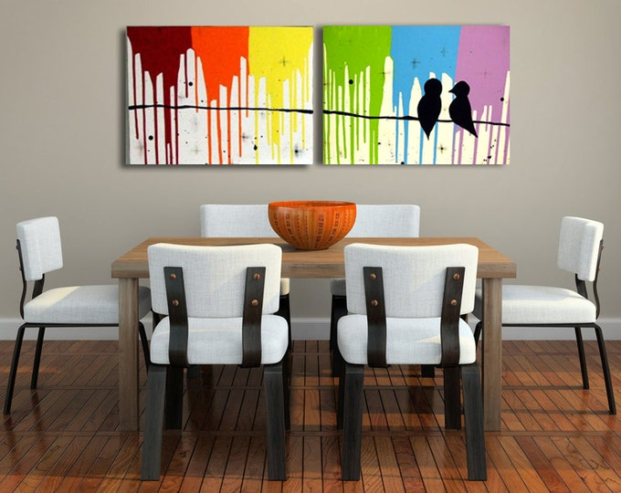 "Rainbow Love Birds Art On Canvas Large  40"" x 16""x 0.5"""