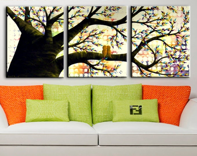 Personalized Bird Family Tree of Life Extra Large Painting on Canvas - Huge Modern Artwork w/ Purple, Orange, Red, Yellow, Blue, Green Brown