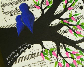 Custom Unique Father's Day Gift Baby Bird Music Sheet Painting - Wedding Lyrics Canvas Daddy Daughter Dance 8 x 10