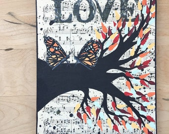 Monarch Butterfly Painting on Vintage Music Sheet from 1930s - Music Lover Gift Idea 8 x 10