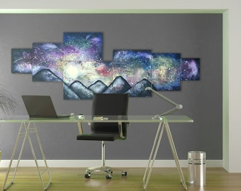 Unique Home Office Art - Large Mountain Painting with Zodiac Signs in Stars, Original Night Sky Art On Canvas, Modern Landscape Wall Art