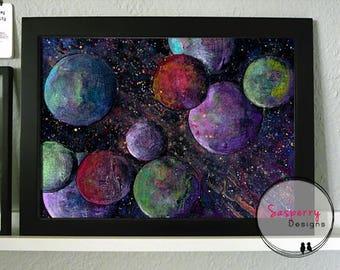 Space Art Print - Sci Fi Gift - Space Nursery Print - Planet Artwork - Outerspace Kids Room Decor - Galaxy Print