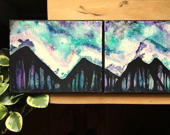 Mountain Painting Watercolor and Acrylic - Original Aurora Borealis  Art Abstract 8 x 30