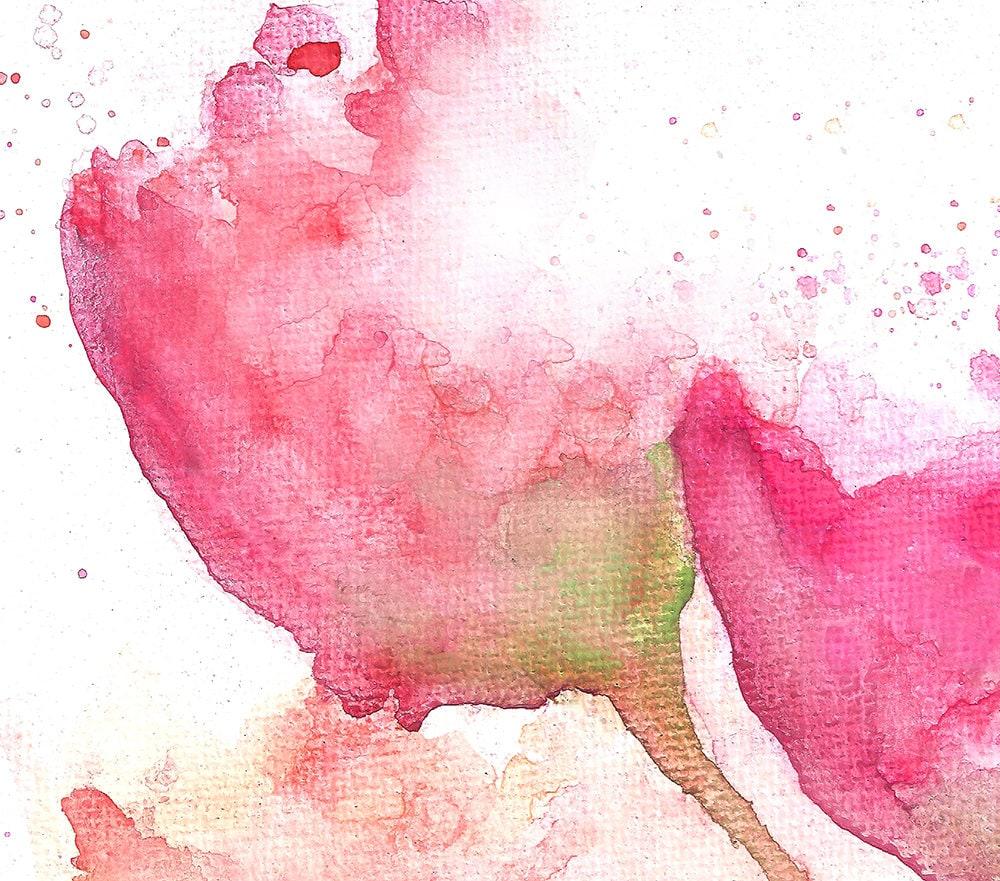Pink Floral Art Print Watercolor Flower Painting Floral Nursery